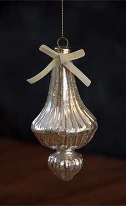 Antiqued Finial Ornament - Silver