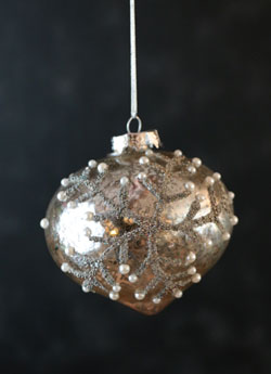 Antiqued Glass Snowflake Ornament