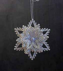 Silver Flower Snowflake Ornament