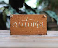 Our Backyard Studio Autumn Hand-Lettered Wood Sign