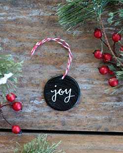 Joy with Holly Double Sided Ornament