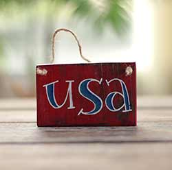 USA Sign Ornament - Red