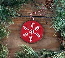 Snowflake 1 Wood Slice Ornament - Red