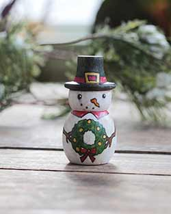 Snowman with Wreath Folk Art Doll