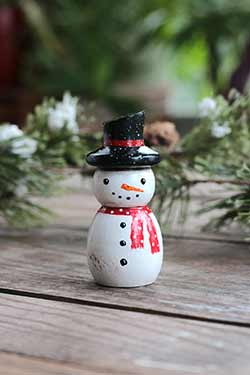 Snowman Wood Figurine (or Ornament)