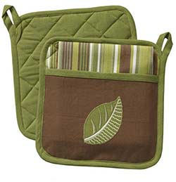 Tropical Leaf Pocket Pot Holder Set