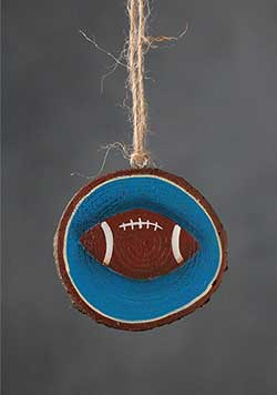Football Hand-painted Wood Slice Ornament (Personalized)