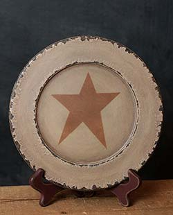 Chippy Paint Wood Plate with Mustard Star - Ivory (9.5 inch)