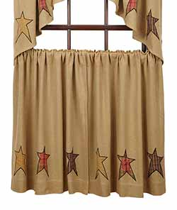 Stratton Burlap Applique Star Cafe Curtains - 36 inch
