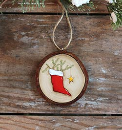 Christmas Stocking Wood Slice Ornament