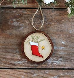 Christmas Stocking Wood Slice Ornament