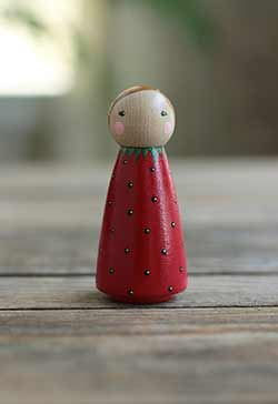 Strawberry Peg Doll - Large