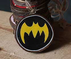 Bat Superhero Wood Slice Ornament (Personalized)