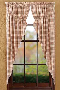 Tacoma Prairie Curtain (Red and Cream Plaid)