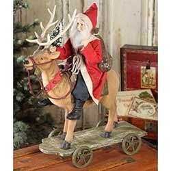 Vintage Santa Riding Reindeer