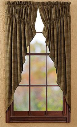 Tea Cabin Green Plaid Prairie Curtain