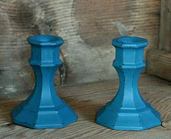 Teal Distressed Painted Glass Candlesticks (Set of 2)