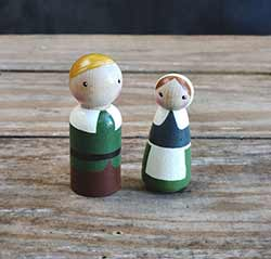 Edward & Agnes Pilgrim Peg Doll Couple (Set of 2)