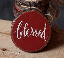 Blessed Hand-painted Wood Slice Ornament - Rust Red (Personalized)