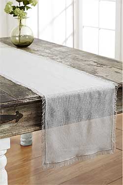 Antique White Tobacco Cloth Table Runner, 36 inch