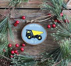 Dump Truck Wood Slice Ornament (Personalized)
