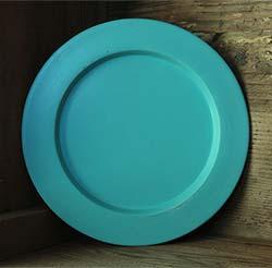 Distressed Wooden Plate, 9.5 inch - Aqua Blue