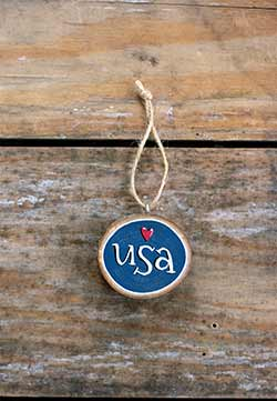 USA with Heart Wood Slice Ornament (Personalized)