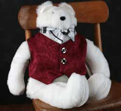 Red Brocade Valentine Bear
