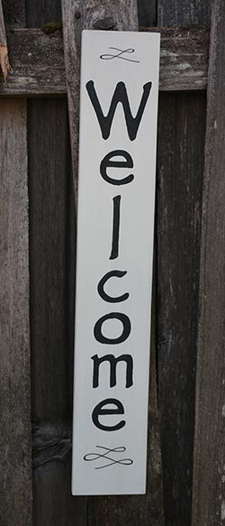 Vertical Welcome Hand-Painted Sign - Ivory
