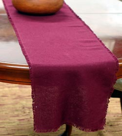 Burlap Table Runner, 90 inch - Merlot Red