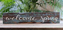 Welcome Spring Hand Lettered Wood Sign
