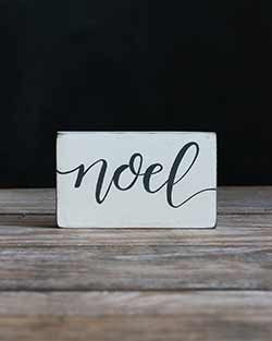 Noel Wood Sign - Distressed White