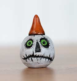 White Jack O'Lantern with Orange Hat - Grim Face