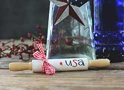 White USA Mini Rolling Pin