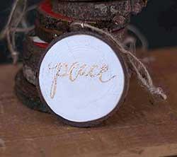 Peace Wood Slice Ornament - White & Gold