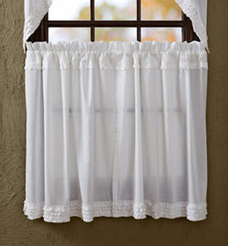 White Ruffled Sheer Tier (36 inch)