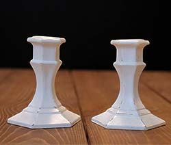 White Distressed Painted Glass Candlesticks (Set of 2)