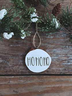 Ho Ho Ho Wood Slice Ornament (Personalized)