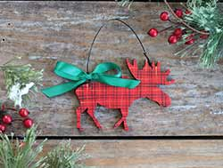Tartan Plaid Moose Ornament (Personalized)