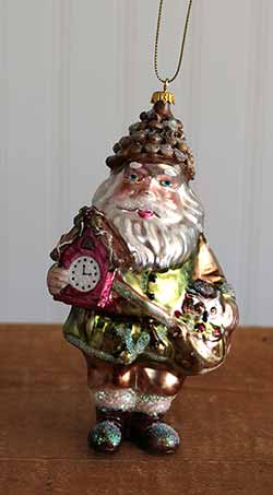 Woodland Santa Ornament with Clock and Owl