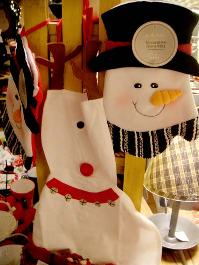 Snowman potholder and apron