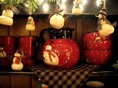 Red and Black snowman pottery