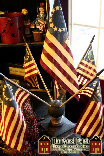 Americana Flags in stand by Primitives By Kathy