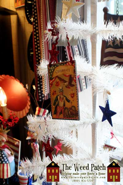 White feather tree with Americana ornaments at The Weed Patch