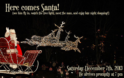 Santa Flies In on December 7th at 7pm at Country Village Shops in Bothell