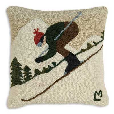 Chandler 4 Corners Downhill Skier Hooked Pillow at The Weed Patch