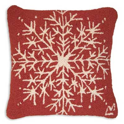 Chandler 4 Corners Snowflake Hooked Pillow at The Weed Patch