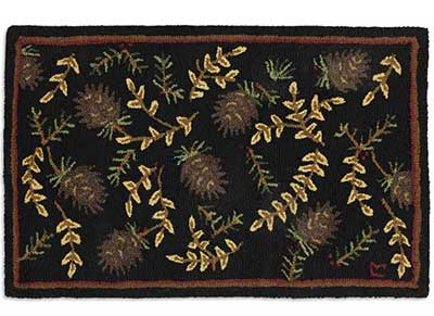 Chandler 4 Corners Willows and Cones Hooked Rug at The Weed Patch