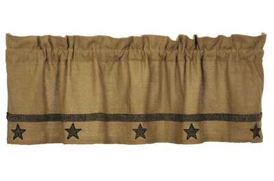 Victorian Heart Burlap Natural Star Valance The Weed Patch