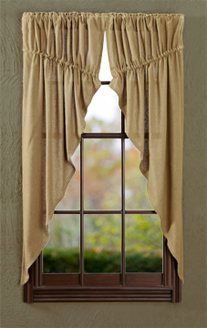 Victorian Heart Burlap Natural Prairie Curtains The Weed Patch
